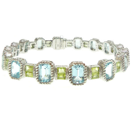"Judith Ripka Sterling 6-3/4"" Multi-Gemstone Tennis Bracelet"