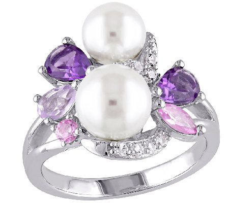 Sterling Multi-Gemstone & Cultured Pearl Cluster Ring