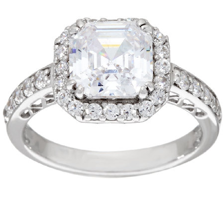 Diamonique 2.50cttw Asscher Halo Ring, Platinum Clad