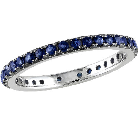 0.70cttw Sapphire Eternity Band Ring, 14K WhiteGold