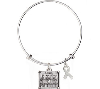 Silvertone Personalized Calendar & Awareness Ribbon Bracelet - J340933