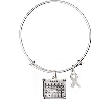 Silvertone Personalized Calendar & Awareness Ribbon Bracelet