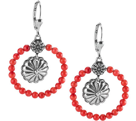 American West Sterling Red Coral Concha Hoop Earrings