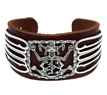 American West Sterling and Leather Cuff b y Fritz Casuse - J342133