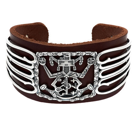 American West Sterling and Leather Cuff b y Fritz Casuse