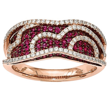 0.85 cttw Ruby & 3/10 cttw Diamond Rin g 14K Rose Gold