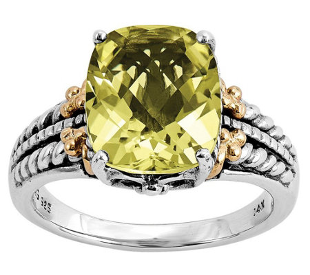Sterling and 14K Gold 3.70 ct Gold Quartz Ring
