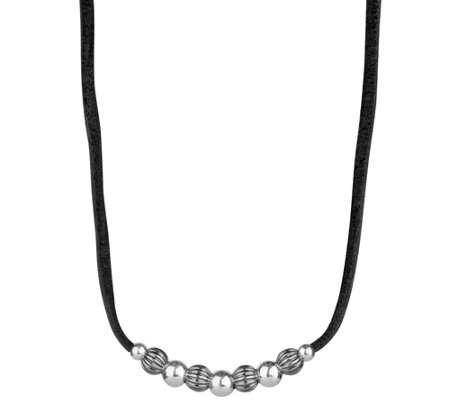 Sterling Silver Bead & Leather Necklace by American West