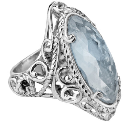 Carolyn Pollack Signature Sterling Blue Topaz Marquise Ring