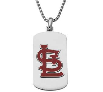 Men's MLB Cardinals Stainless Steel Dog Tag with Chain - J343733