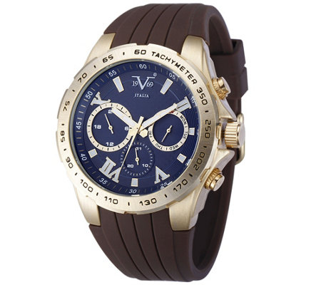 V19.69 Italia Men's Goldtone Watch w/ Blue Dial, Brown Strap