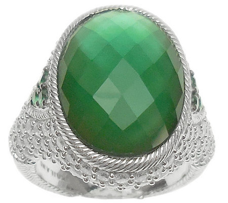Judith Ripka Sterling Diamonique & Green Doublet Ring