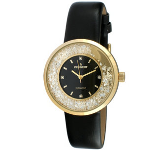 Peugeot Women's Goldtone Diamond Marker Black Leather Watch - J344633