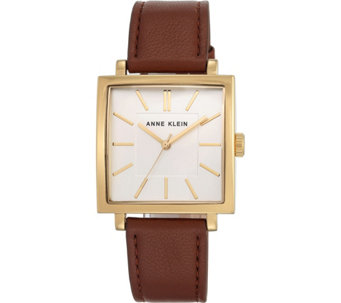 Anne Klein Women's Goldtone Brown Leather StrapWatch - J344733