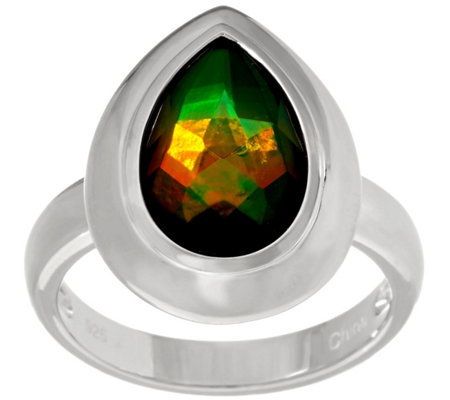 Pear Shaped Ammolite Triplet Sterling Ring