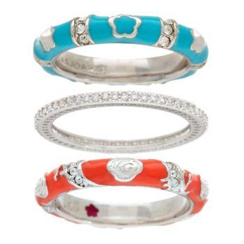 Lauren G Adams Silvertone Colored Enamel Stack Ring