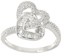 Pave' Diamond Interlocking Heart Ring Sterling by Affinity - J347533