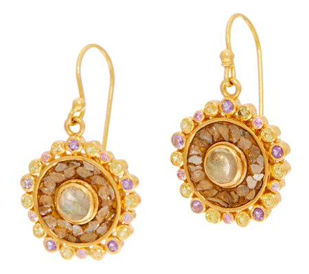 Shana Gulati Sterling or 18K Clad Gemstone & Diamond Slice Dale Earrings