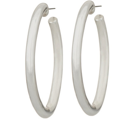 Simon Sebbag Sterling Silver Smooth Oval Hoop Earrings