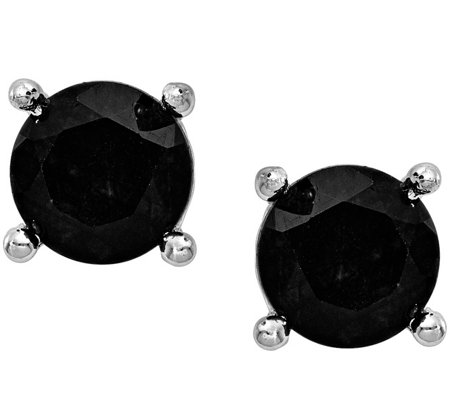 Sterling 4.00 cttw Black Sapphire Post Earrings