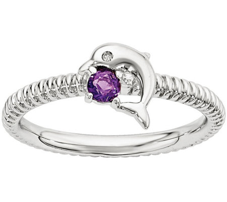 Simply Stacks Sterling Gemstone Dolphin Ring