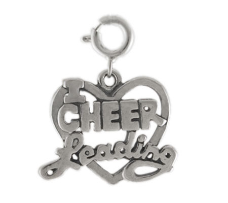 Sterling I Love Cheerleading Heart Charm