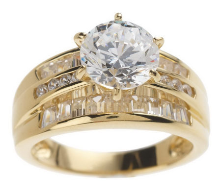 diamonique round baguette ring sterling or 14k gold clad - Qvc Wedding Rings