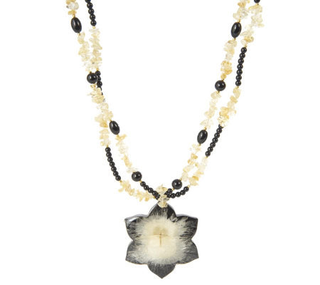 Lee Sands Citrine Nugget Necklace with Acacia Flower Pendant