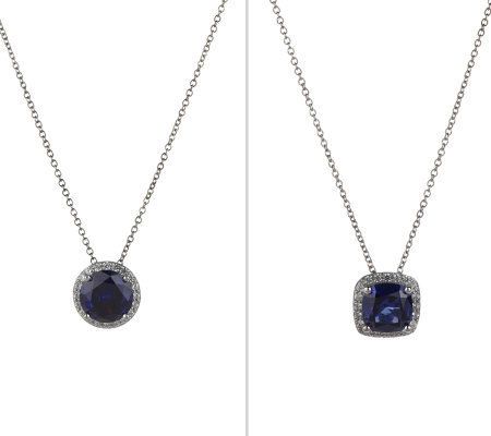 Diamonique Sterling Simulated Tanzanite Pendant w/Chain