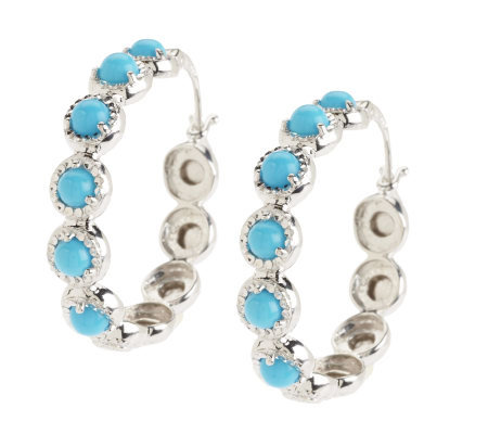 "Sleeping Beauty Turquoise 1-1/4"" Sterling Hoop Earrings"