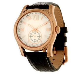 """As Is"" Bronzo Italia Bold Domed Roman Numeral Leather Strao Watch - J286234"