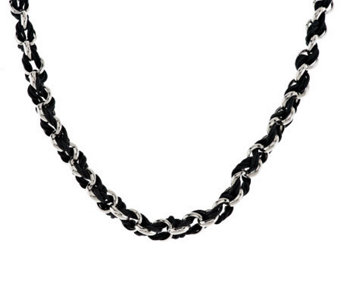 "VicenzaSilver Sterling 18"" Polished Rondel Woven Cord Necklace - J287334"