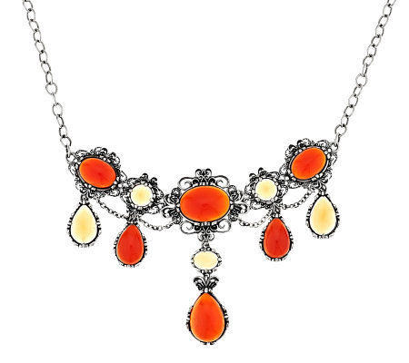 Carolyn Pollack Carnelian & Honey Citrine Sterling Necklace