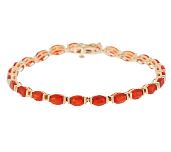 "Premier 5.30 ct tw Red Fire Opal 6-3/4"" Tennis Bracelet, 14K - J288734"