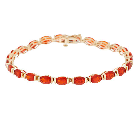 "Premier 5.30 ct tw Red Fire Opal 6-3/4"" Tennis Bracelet, 14K"