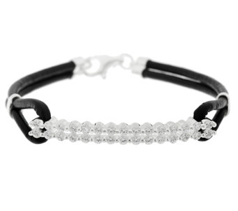 Diamonique 1.15cttw Bar Station and Leather Cord Bracelet - J289134