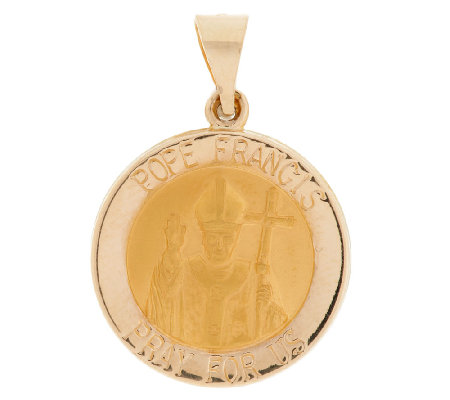 14K Gold Pope Francis Pendant