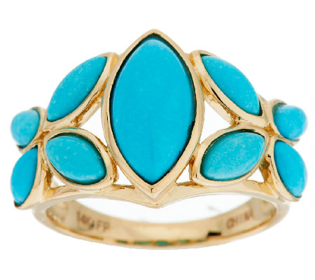 Sleeping Beauty Turquoise Floral Design Ring, 14K Gold