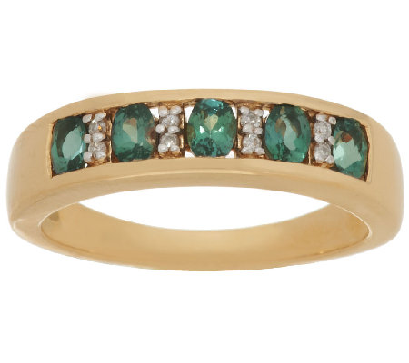 Alexandrite & Diamond Band Ring 14K Gold 0.55 ct tw