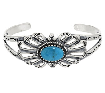 Oval Turquoise Sterling Silver Cuff by American West - J294834