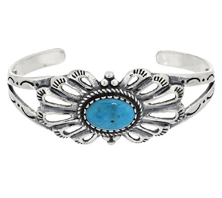 Oval Turquoise Sterling Silver Cuff by American West