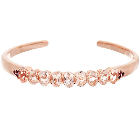 5.90 ct tw Morganite & Pink Tourmaline Sterling Hinged Cuff