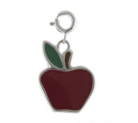 Sterling and Red Enamel Apple Charm