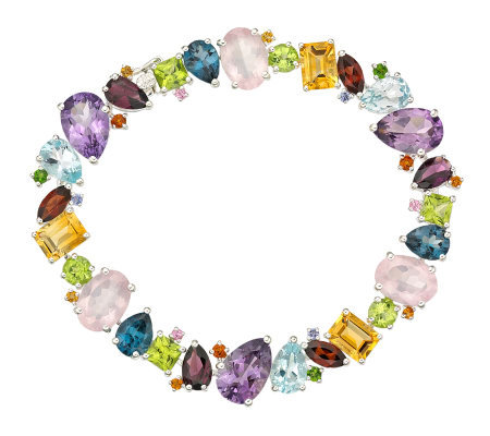 "Sterling 30 cttw Multi-gemstone 7-1/4"" Bracelet"