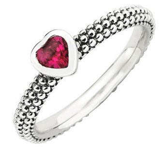 Simply Stacks Sterling Simulated Ruby Heart Beaded Band Ring - J308934
