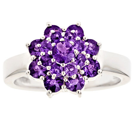 Sterling Silver 0.95cttw Amethyst Cluster Ring
