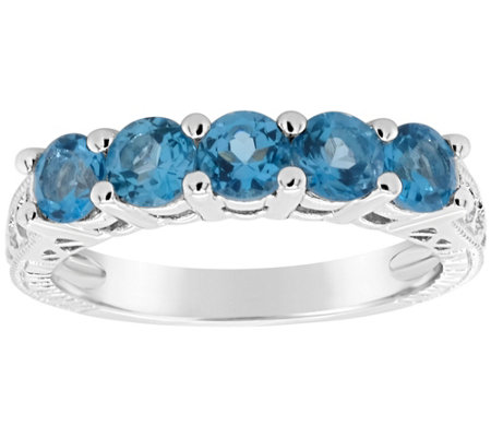 Sterling 5-Stone Round Birthstone Band Ring