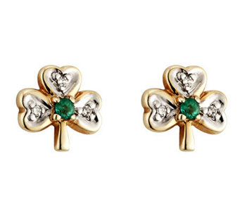 Solvar Diamond & Emerald Shamrock Earrings, 14K - J311334