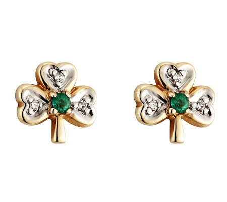 Solvar Diamond & Emerald Shamrock Earrings, 14K