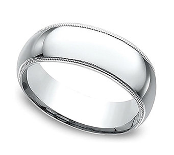 Sterling Silver 7MM Milgrain Unisex Wedding B and Ring - J312034